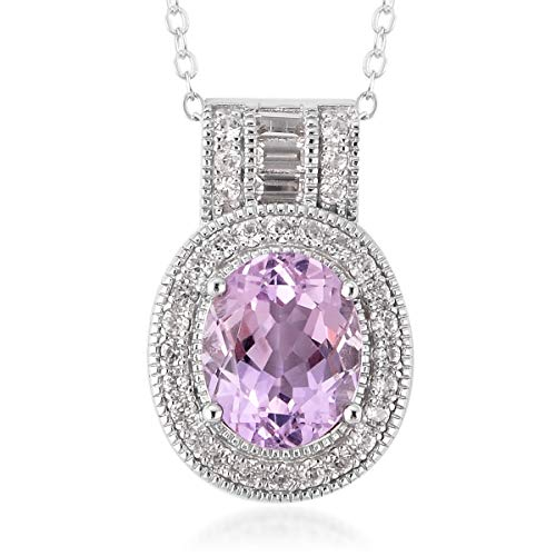 925 Sterling Silver Kunzite White Zircon Pendant Necklace 18