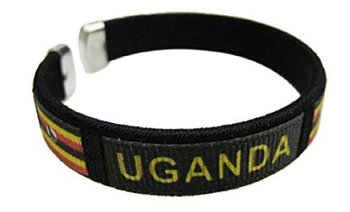 Flag C Bracelets Wristbands - Asia & Africa (3-Pack, Country: Uganda 2)