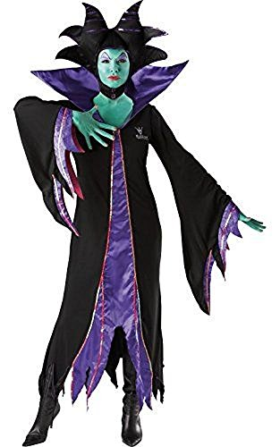 (Ladies Disney Maleficent Malificent Villain Evil Queen Witch Halloween Fancy Dress Costume Outfit (UK)