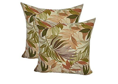 Set of 2 - Indoor/Outdoor Square Decorative Throw/Toss Pillows - White, Tan, Brown, Green, Tropical Palm Leaf - Choose Size (24