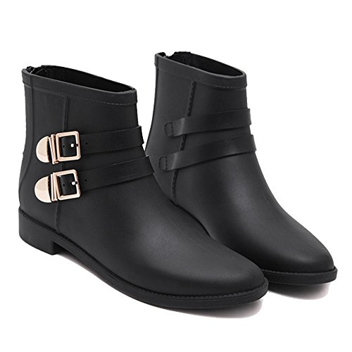 NAN Rain Boots Female Adult Fashion Models Low Help Rain Boots Overshoes Women's Rubber Shoes Short Tube Non-slip Water Shoes (Color : Black, Size : EU39/UK6/CN39) Black