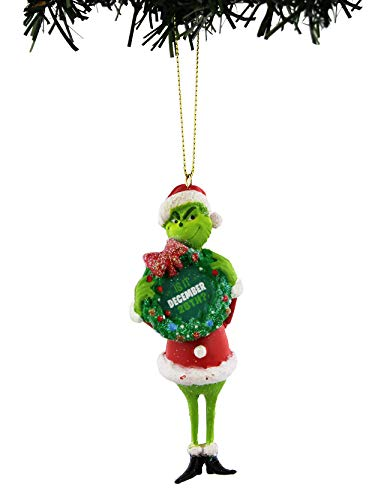 Dr Seuss The Grinch Kurt Adler Christmas Holiday Ornament Gift Boxed (Wreath, 4