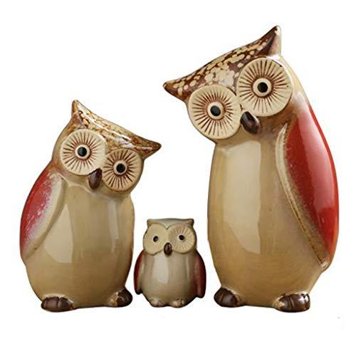 (Owl Decorative Ornaments Cute Living Room Children's Room Ceramic Home Accessories Arrangement Birthday Present Design (Color : Red))
