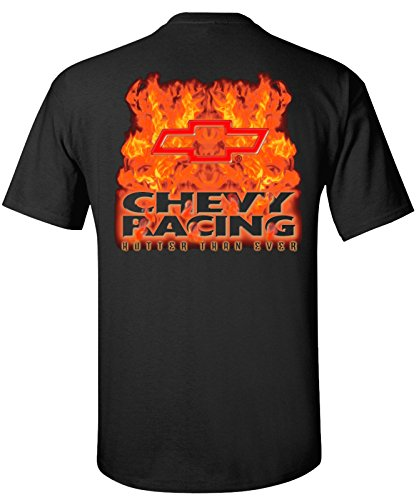 (Hot Rod Apparel Company Chevy Racing with Bowtie Flamed T-Shirt 100% Cotton Preshrunk )