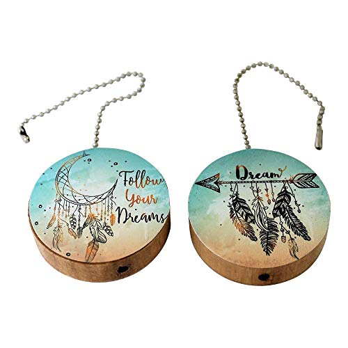 (Set of 2 Follow Your Dreams Round Wood Fan/Light Pull )