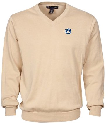 Oxford NCAA Auburn Tigers Men's Devon V-Neck Sweater (Oyster, X-Large) by Oxford