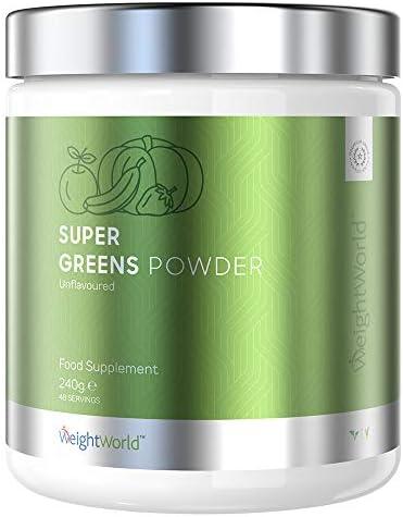 Super Greens Pulver Vegan - 240g Vitamin Pulver für Abnehmen und Detox, Superfood Mix, Vitamine & Mineralien hochdosiert, Mit Chlorella & Spirulina Extrakt, Green Protein Komplex, Smoothie & Shake