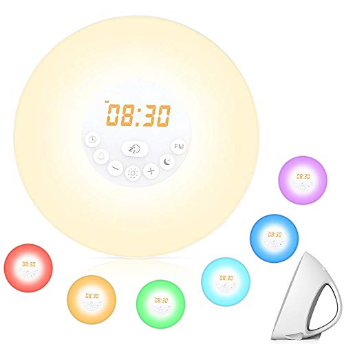Sunrise Alarm Clock,Hallomall Wake Up Light with 6 Nature Sounds, FM Radio, Bedside Sunrise Simulator Clock Radio with 7 Colors Night Light Brightness Adjustable, Touch Control