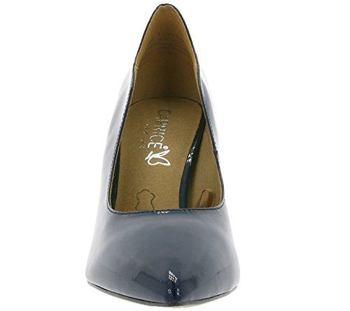 Caprice High Schuhe Damen Pumps Abendschuhe Blau in Lack-Optik mit Absatz Blau