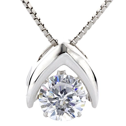 Omega Silver Jewelry Box - Central Diamond Center Nana Omega Dancing Stone Pendant Sterling Silver, Swarovski CZ, 0.8mm 22