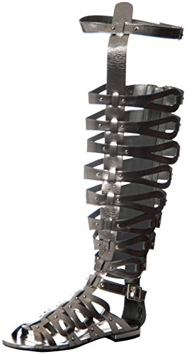 Breckelles Women's Over the Knee Flat Gladiator Sandals Gun Metal 9