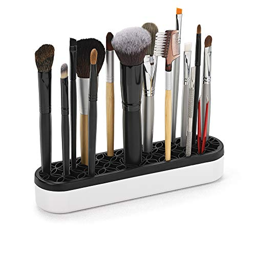 Silicone Makeup Brush Holder: Beauty Tool Organizer and Cosmetic Storage, Black and White