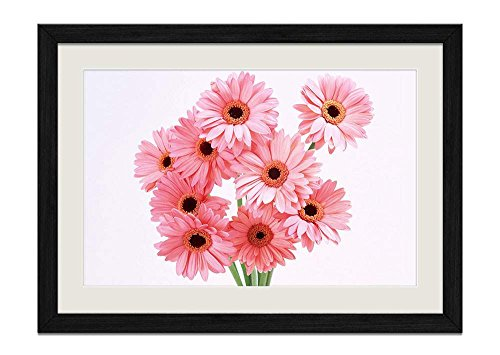 CU.RONG Pink Gerbera Daisies Wood Frame Poster Home Art Deco Picture Print Framed Painting(16x24 in Black Frame)