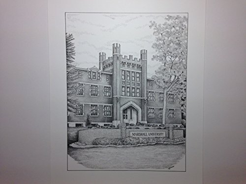 Marshall University - ''Old Main'' 9''x12'' pen and ink print by Campus Scenes