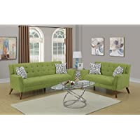 Living Room Bobkona Willow Color Sofa & Loveseat Modern Unique Velveteen Fabric Tufted Couch Accent Pillows 2pc Sofa Set