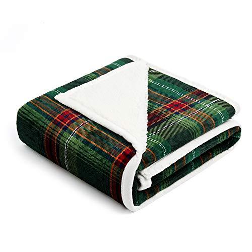 FFLMYUHUL I U Sherpa Ultra Plush Super Soft Lightweight Throw Blanket Cozy Cabin Geometric Plaid Luxury Blanket for Bed Couch Warm Fuzzy Blanket 50''x60''Green Check (Plaid Green Throw)