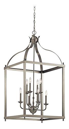 Brushed Nickel Larkin 8 Light 24in. Wide 2-Tier Chandelier with Metal Cage - Foyer Two Fixture Tier