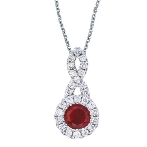 0.25 Carat (ctw) 14k White Gold Round Red Ruby and Diamond Women's Swirl Infinity Halo Pendant with 18