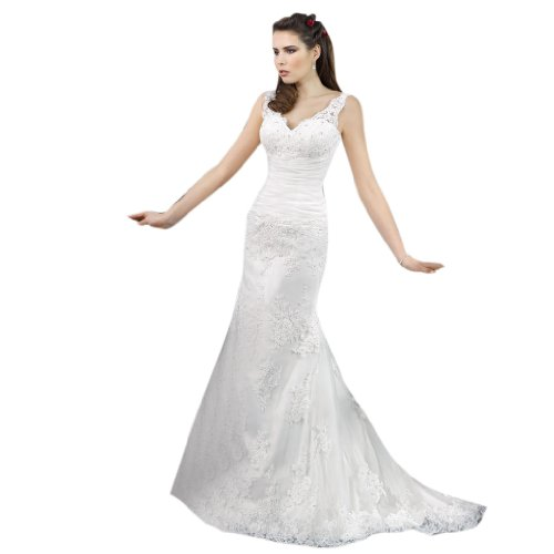 Train Dresses V Mermaid Tulle Dearta Trumpet Court Women's Ivory Neck Wedding zOYwU