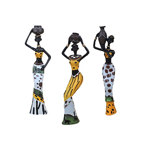 TBW African Figure Sculpture Tribal Lady Figurine Statue Decor Collectible Art Piece, 7.5-Inch, Pack of 3