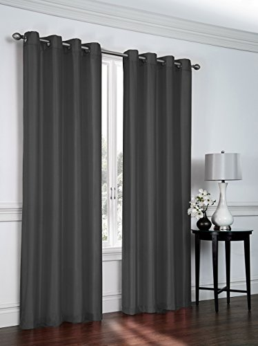 Regal Home Collections 2 Pack Semi Sheer Faux Silk Grommet Curtains - Assorted Colors (Charcoal) ()