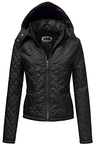 Quilted Padding Hoodie with Fur Lining Zip Up Jackets, 023-Black, Large