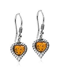 Sterling Silver Amber Heart Earrings