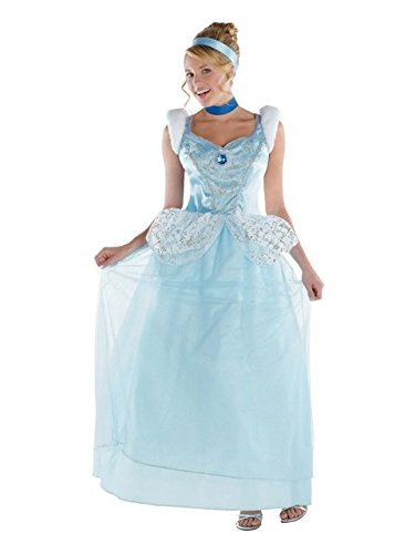 Disguise Disney Cinderella Adult Deluxe Costume, Light Blue/White, Large/12-14