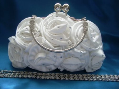 Rose Party IVORY Satin Handbag Diamante Wedding Silk Colours IVORY Clutch Evening prom 12 Flower 5Aqwg0A