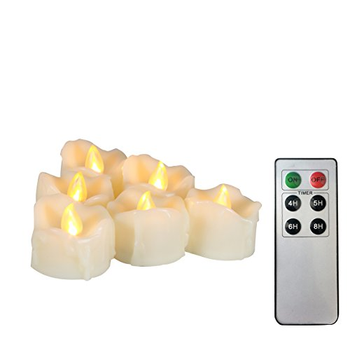 6 Battery Operated Flameless LED Tea Lights Remote Timer Realistic Flickering Electric Tealight Votive Candles Set Bulk Baptism Wedding Party Decorations Kitchen Home Decor Centerpieces Batteries Incl