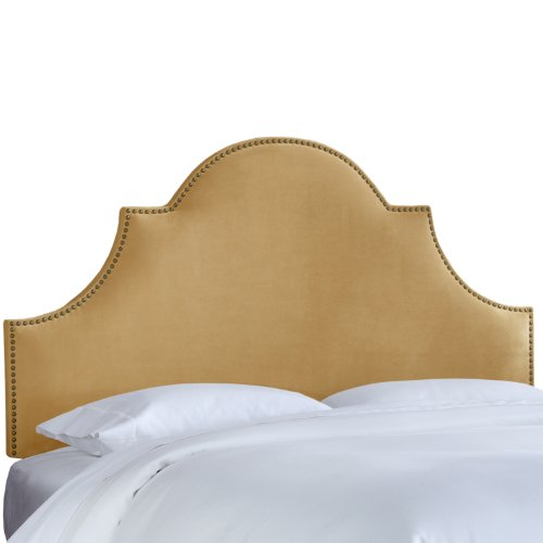 Skyline Furniture Nail Button High Arch Notched Headboard, Full, Velvet (Notched Full Headboard)