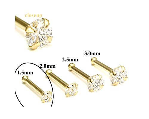 20g - 1.5mm Real Diamond 14kt Yellow Gold Nose Bone (Nose Bone Diamond Real)