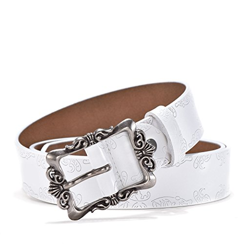 TUNGHO Genuine Leather Belts For Women Cowhide Embossing Design Carving Buckle Plus Size XXL (M, Max pants size 38'', Silvery Buckle/White) by TUNGHO