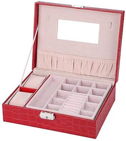 Organizador de joyero para niñas y mujeres, estuche de joyas para pendientes, anillos, collar, pulsera de piel sintética, caja de almacenamiento brillante con cerradura (rojo): Amazon.es: Relojes