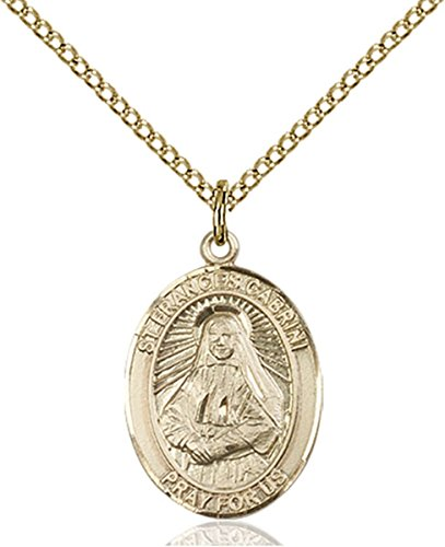 14K Gold Filled Saint Frances Cabrini Medal Pendant, 3/4 Inch