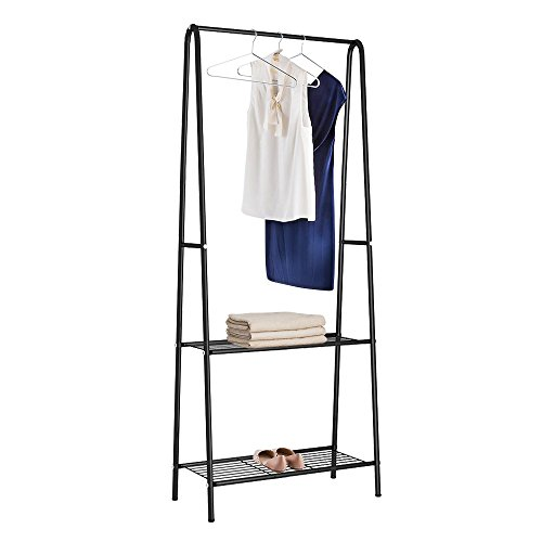 HOME BI Garment Rack with 2 Tier Storage Shelves, Metal Clothes Rack Organizer with Shoe Rack for Entryway Bedroom, Black