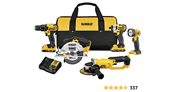 DEWALT 20V MAX Combo Kit, Compact 5-Tool (DCK521D2)