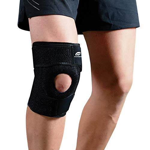 Knee Brace Support, Meniscus Tear Arthritis Adjustable Compression for ACL Fitness Women and Men, Non-slip Open Patella Stabilizer, Comfortable Neoprene Knee Support Sleeve, Spring Support All Sports ()