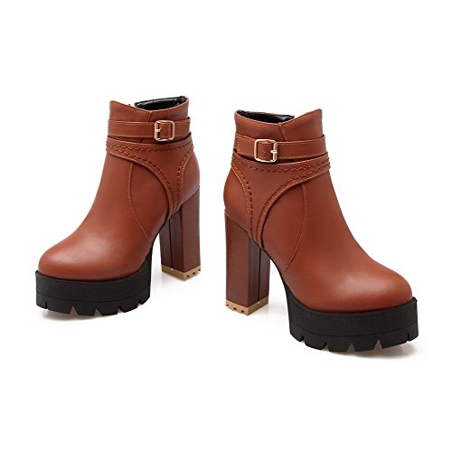 Allhqfashion Women's Low Top Solid Zipper Round Closed Toe High Heels Boots Brown ULAjT