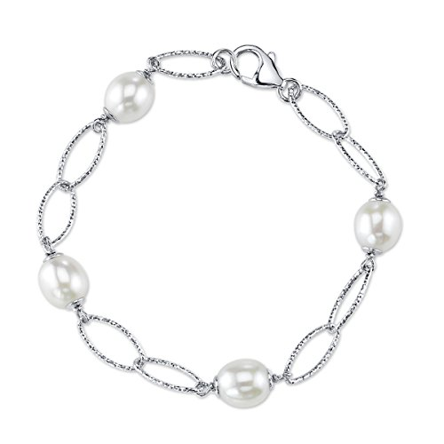 Oval Freshwater Cultured Pearl Bracelet (9mm White Freshwater Cultured Pearl Oval Link Bracelet)