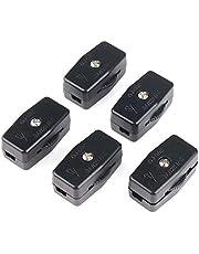 URBEST 5Pcs Black AC 125V 6A Compact Thumbwheel Actuator Lamp Inline Switch