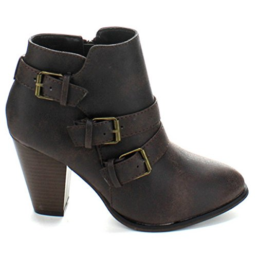 Fashion Heel Upper Ankle PU Leather Brown Booties Chunky Strappy Coshare High Women's 5qRn6