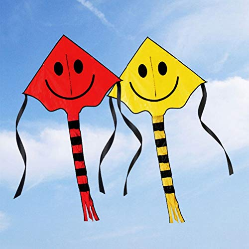 Smiling Face Stunt Kite Cute Cartoon Kites for Kids Outdoor Fun Sports Flying Toys for Children with 30m Handle Line
