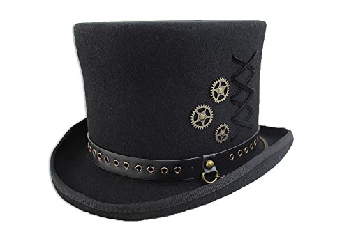 SteamPunk Top Hat,Black,Medium ()