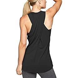 Mippo Women's Loose Workout Gym Tops Sexy Cross Back Long Flowy Active Hiking Yoga Muscle Shirts Sleeveless Running Fitness Sports Gym High Neck Racerback Tank Top Black M