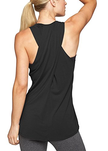 (Mippo Women's Summer Workout Tops Sexy Cross Back Yoga Shirts Long Flowy Active Workout Clothes Loose Fit Muscle Tee Tanks Sports Gym Active Pilates Tank Top Black M)