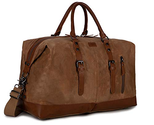 BAOSHA Waxed Canvas Travel Duffel Bag Carry on Weekender Overnight Bag for Men HB-14 (Waxed Brown)