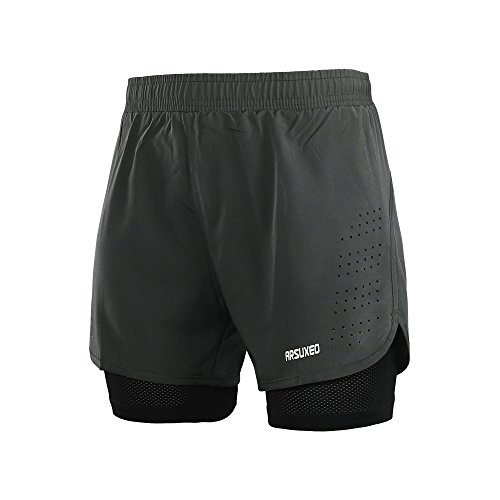 - ARSUXEO Men's Active Training Running Shorts 2 in 1 Gray Size Large