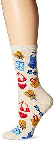Hot Sox Women's Originals Fashion Crew Socks, Beach Clothes (Natural Melange), Shoe 4-10/Sock Size 9-11