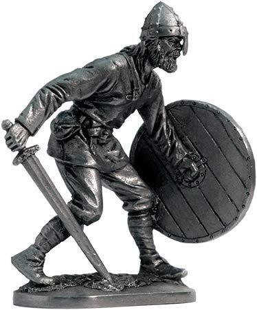 Viking with Sword and Shield Tin Toy Soldiers Metal Sculpture Miniature Figure Collection 54mm (Scale 1/32) (M285)